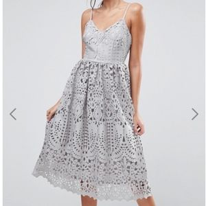 ASOS Heavy Lace Cami Midi Dress Grey NWT SO PRETTY